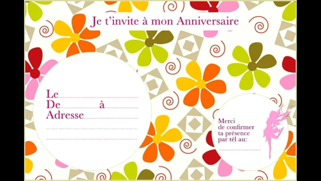 Carte invitation anniversaire 10 ans gratuite