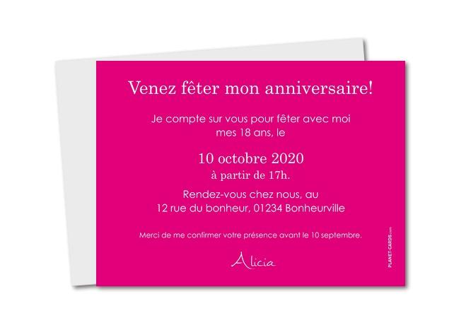 Carte d'invitation anniversaire 18ans