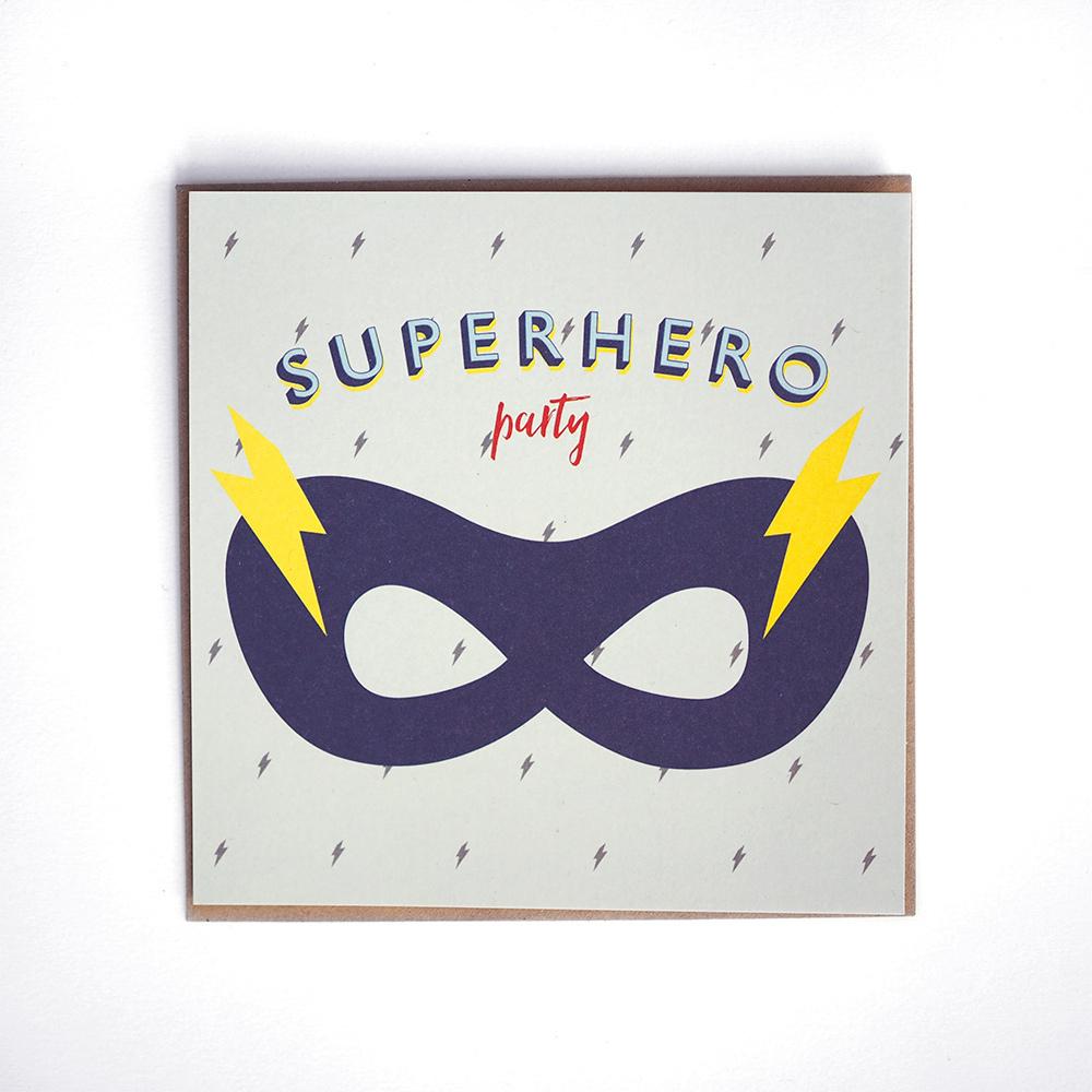Carte invitation anniversaire super héro