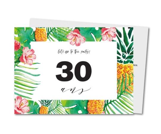 Carte invitation anniversaire tropical