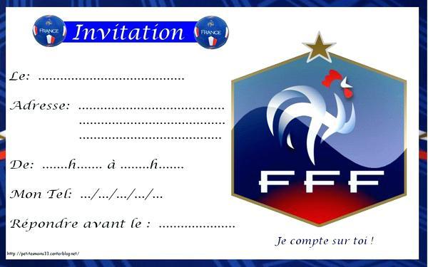 Carte invitation anniversaire football