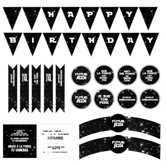Carte d'invitation anniversaire star wars a imprimer