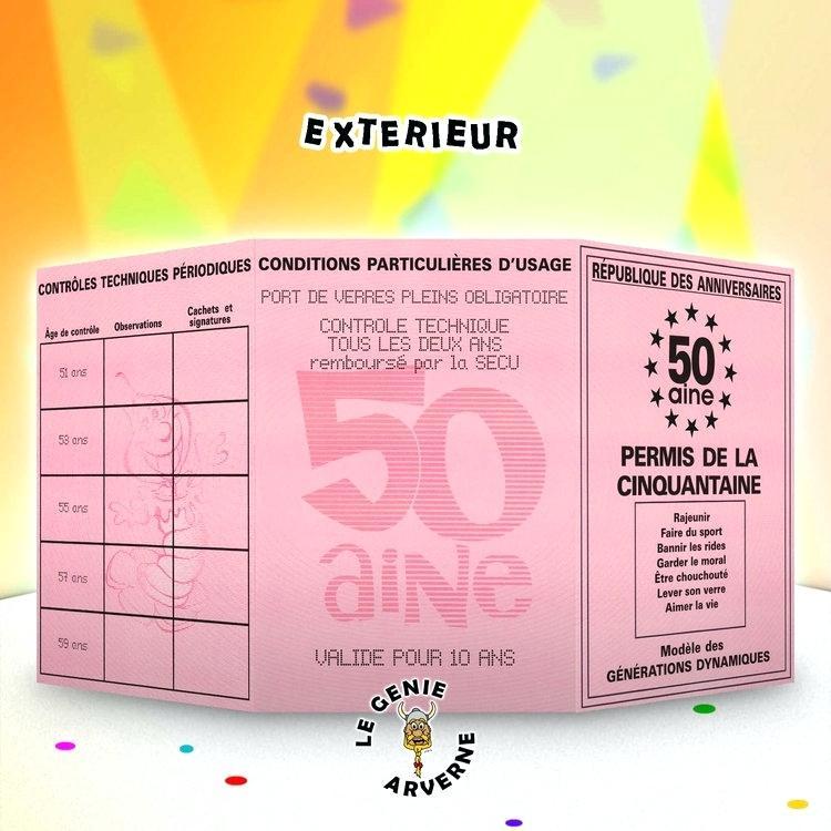 Carte d'invitation anniversaire 50 ans humoristique gratuite à imprimer