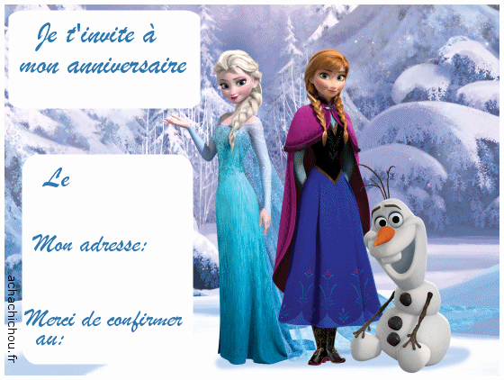 Imprimer carte anniversaire reine des neiges