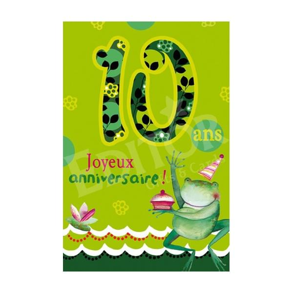 Carte anniversaire 10 ans garçon à imprimer