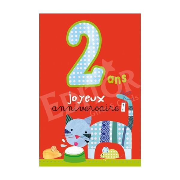 Carte anniversaire petit garcon 2 ans