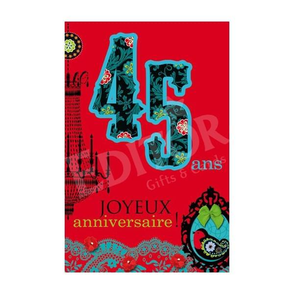 Carte 45 ans anniversaire
