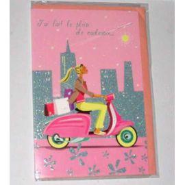 Carte anniversaire avec scooter