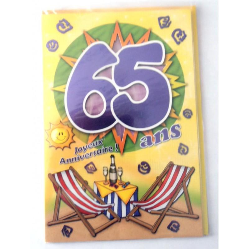 Carte joyeux anniversaire 65 ans
