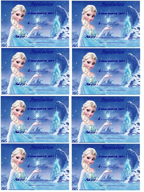 Carte anniversaire a imprimer gratuit reine des neiges