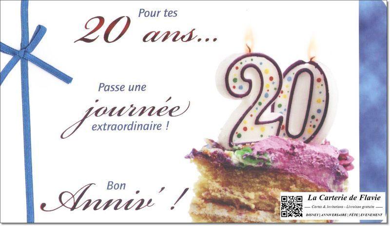 Carte anniversaire pour des 20 ans