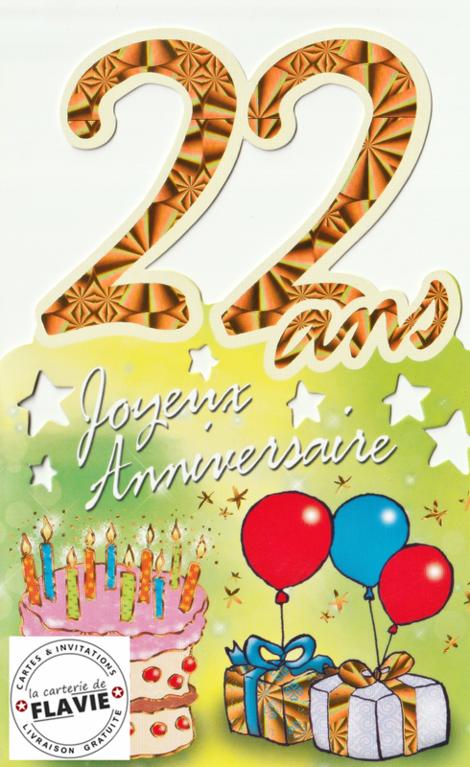 Carte Joyeux Anniversaire 22 Ans Elevagequalitetouraine