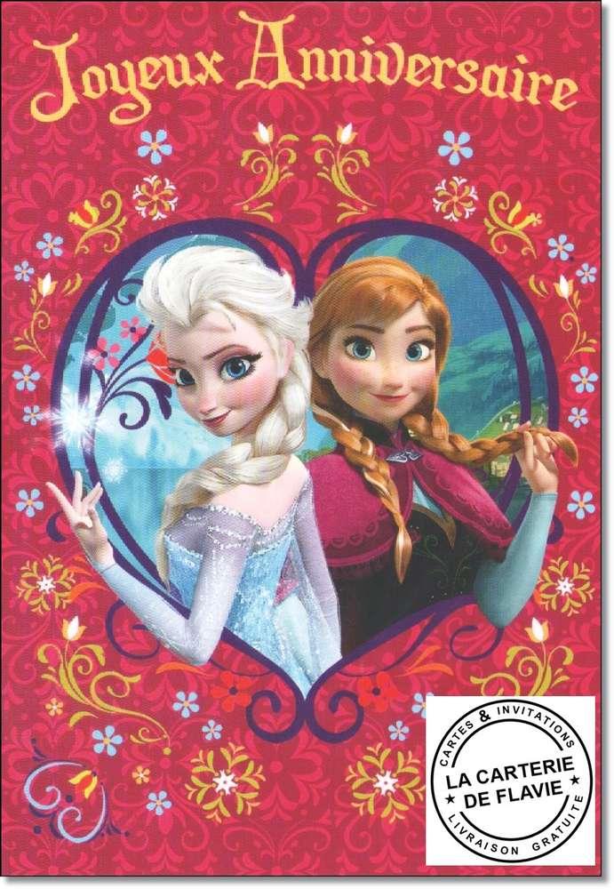 Carte anniversaire disney reine des neiges