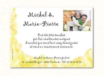 Carte remerciement anniversaire de mariage