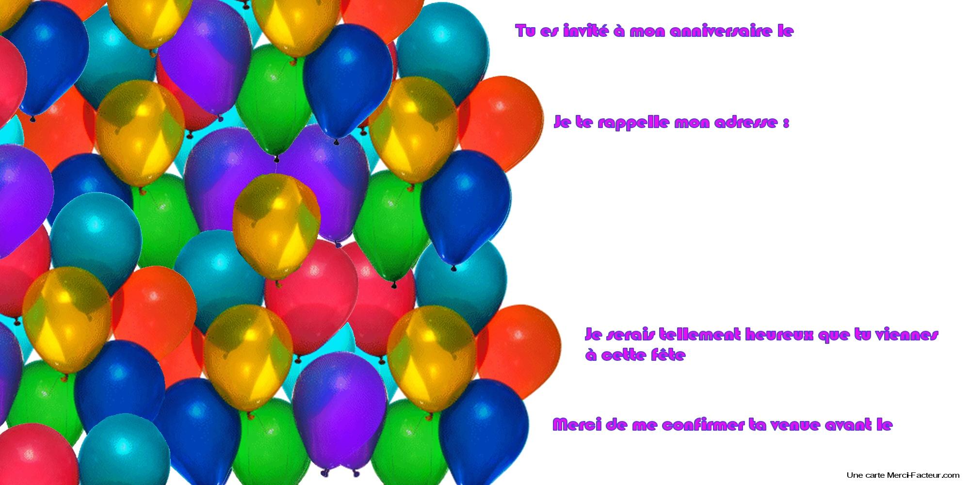 Carte d'invitation anniversaire a imprimer gratuitement