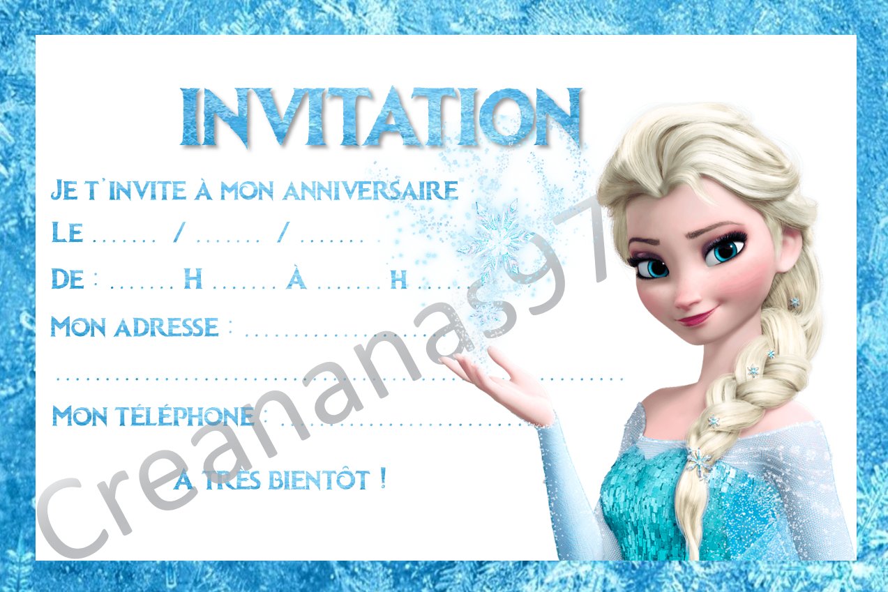 Carte invitation anniversaire elsa reine des neiges