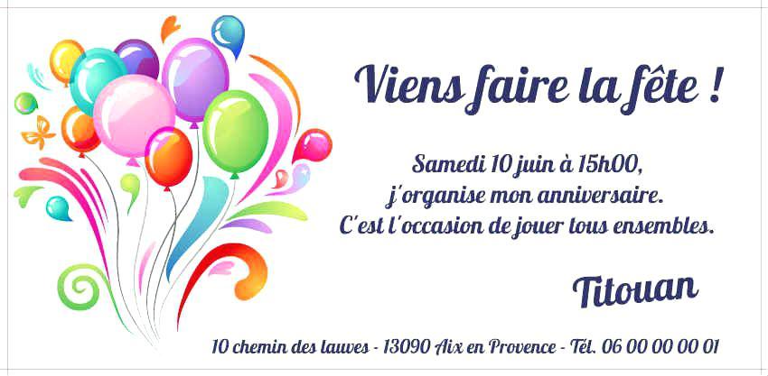 Carte Invitation Anniversaire Modele Elevagequalitetouraine