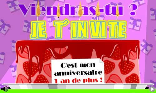 Carte invitation boum anniversaire