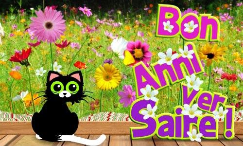 Carte animée anniversaire fleurs