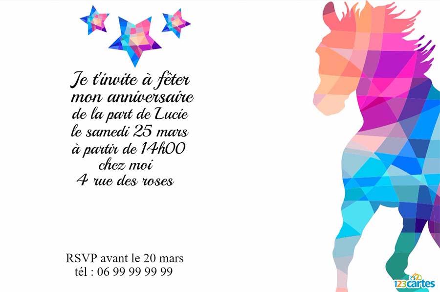 Carte d'invitation à imprimer gratuitement pour anniversaire