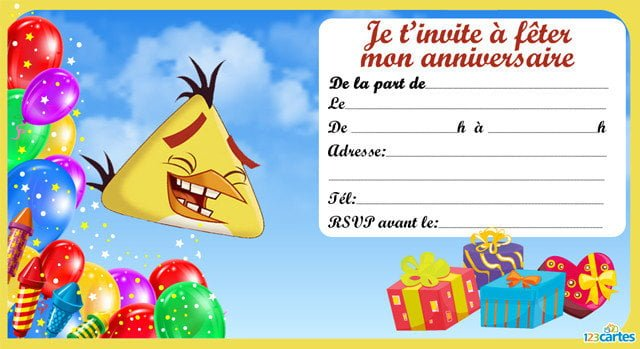 Carte invitation anniversaire angry birds gratuite