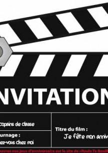 Carte anniversaire invitation cinema