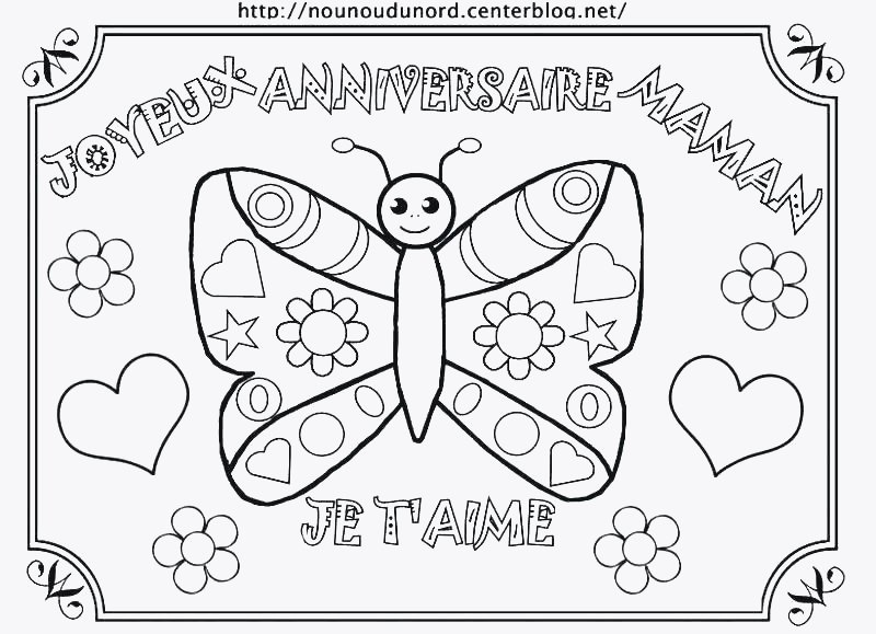 Carte A Colorier Joyeux Anniversaire Maman Elevagequalitetouraine