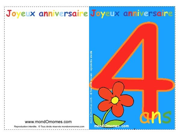 Carte anniversaire enfant à colorier