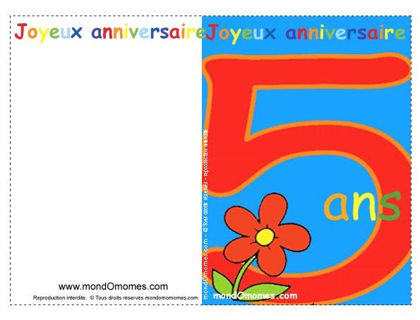 Carte anniversaire pour garçon de 5 ans