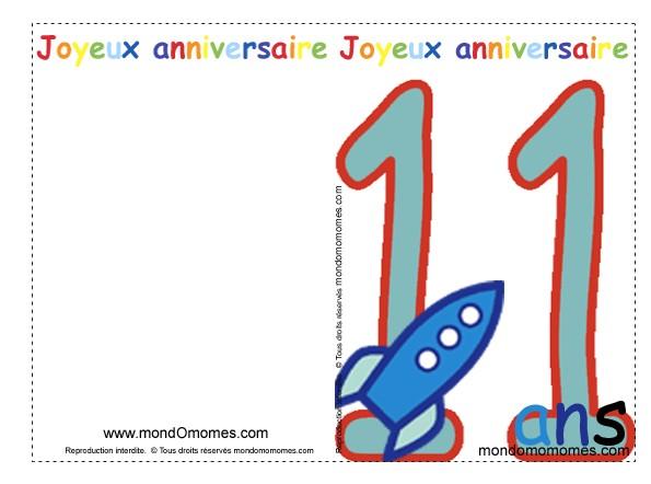 Carte joyeux anniversaire 11 ans à imprimer