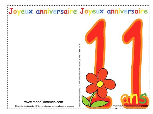 Carte anniversaire fille 11 ans imprimer