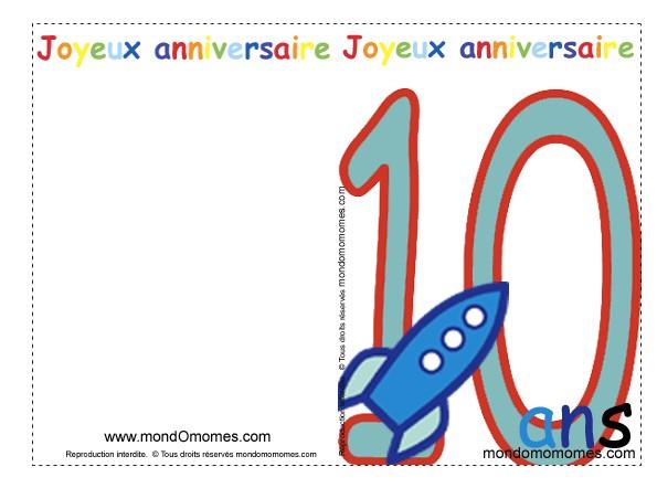Carte Anniversaire Garcon 10 Ans Gratuite A Imprimer Elevagequalitetouraine