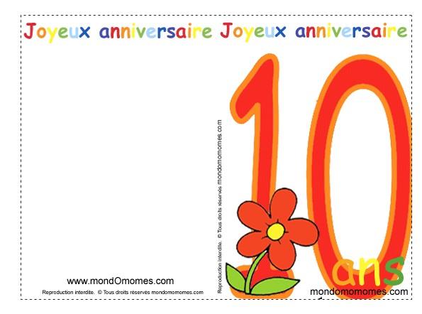 Carte anniversaire de 10 ans gratuite à imprimer