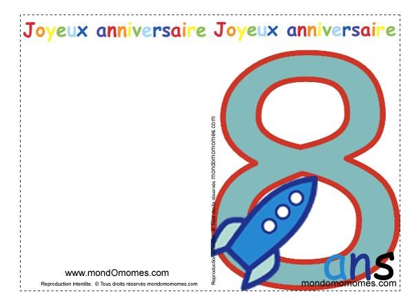 Carte Anniversaire 8 Ans Garcon Gratuite Imprimer Elevagequalitetouraine