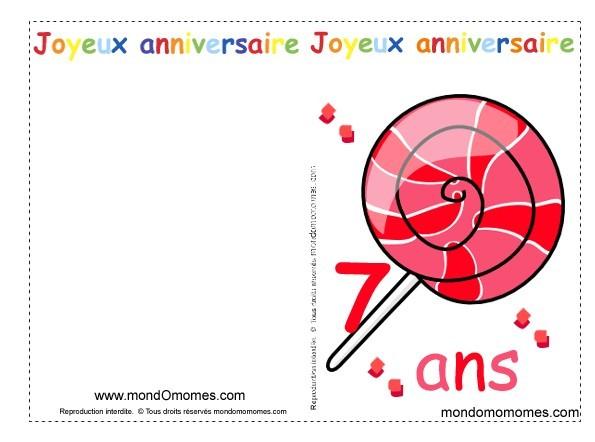 Carte anniversaire 7 ans a imprimer