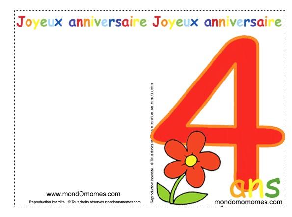 Carte Anniversaire Pour Fille De 4ans Elevagequalitetouraine
