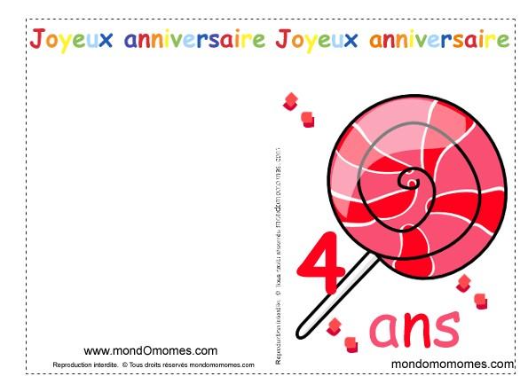 Carte Anniversaire Garcon 4 Ans Gratuite A Imprimer Elevagequalitetouraine
