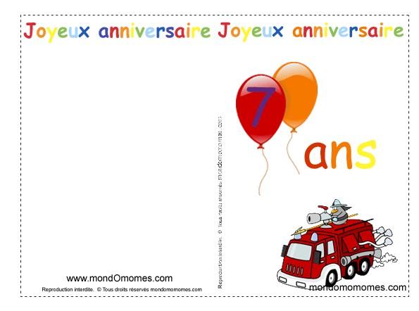 Carte anniversaire enfant a imprimer gratuitement