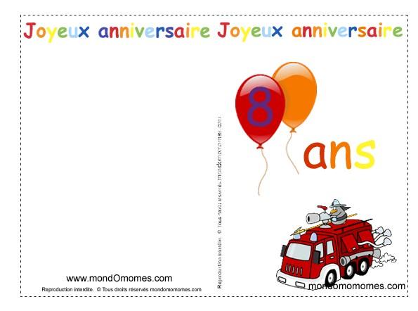 Carte anniversaire 8 ans garçon