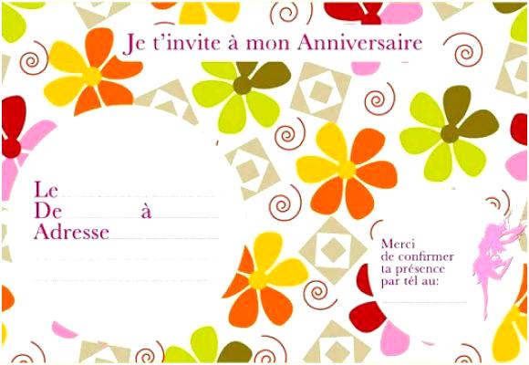 Carte invitation anniversaire word
