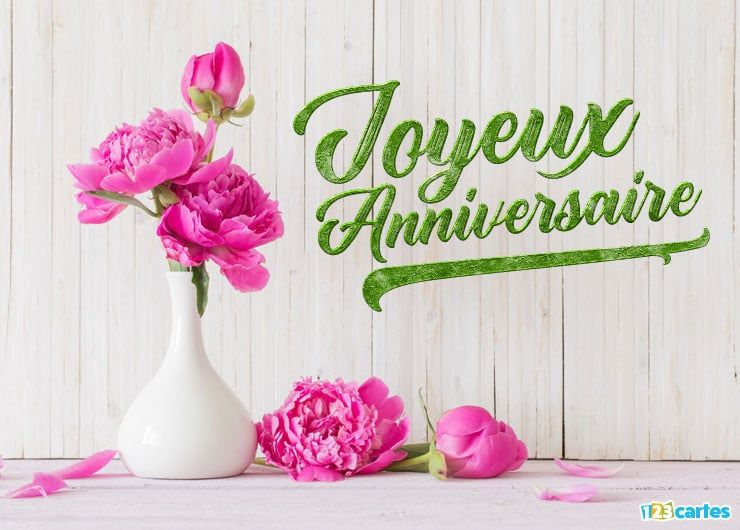 Carte joyeux anniversaire christelle fleurs