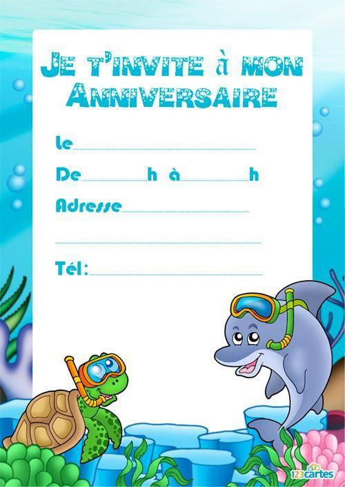 Carte anniversaire dauphin gratuite à imprimer