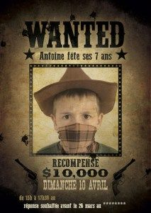 Carte d'invitation anniversaire wanted