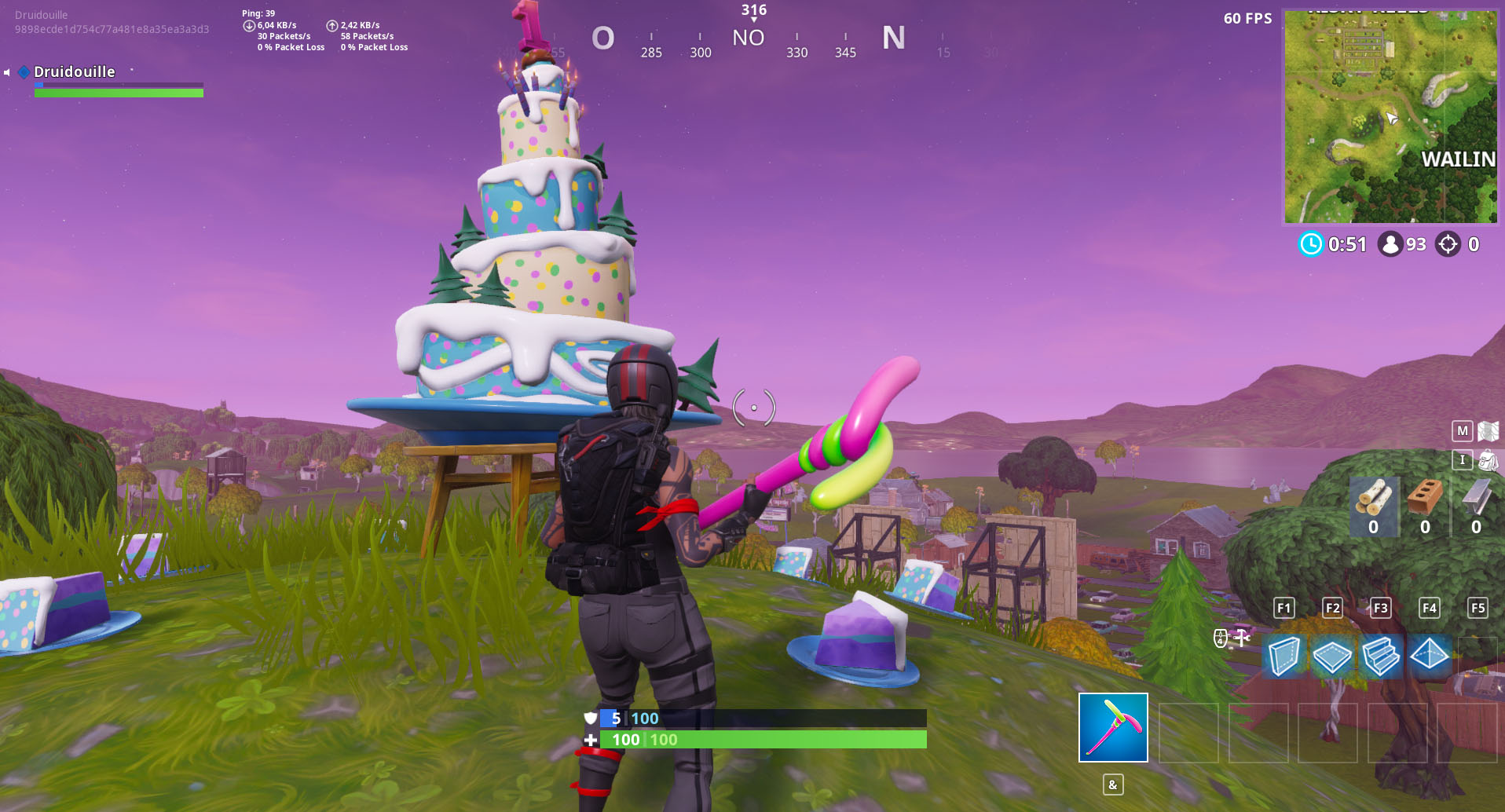 Carte gâteau anniversaire fortnite