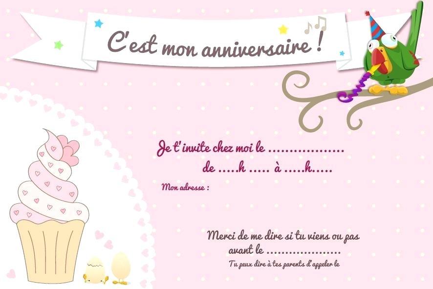 Imprimer carte invitation anniversaire fille gratuite