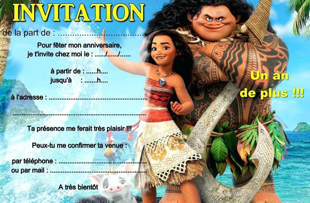 Carte invitation anniversaire fille vaiana