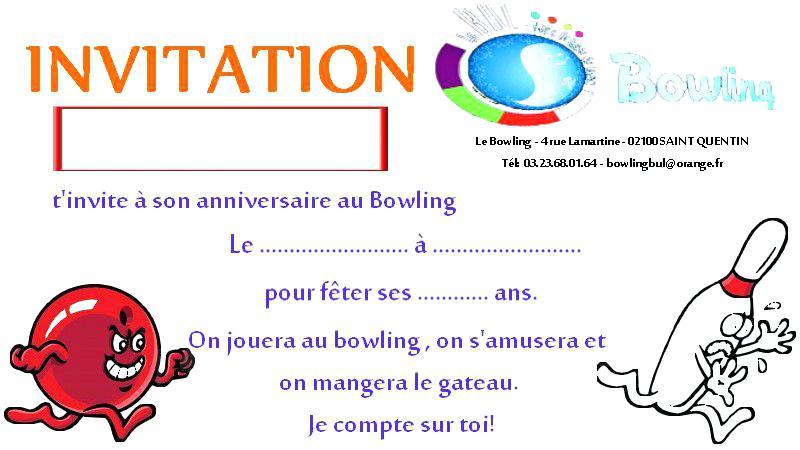 Carte invitation anniversaire gratuite à imprimer theme bowling