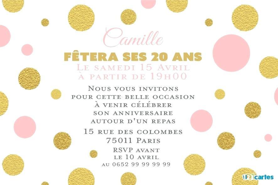 carte d invitation anniversaire 20 ans Carte d'invitation anniversaire 20 ans texte   Elevagequalitetouraine
