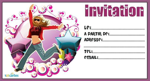 Impression carte d'invitation anniversaire