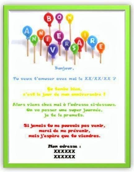 Modèle de texte pour invitation anniversaire